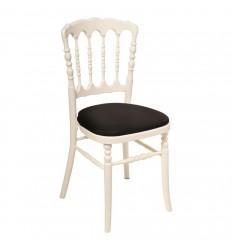 Location  Chaise napoléon blanche assise noire