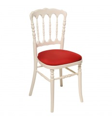 Location  Chaise napoléon blanche assise rouge