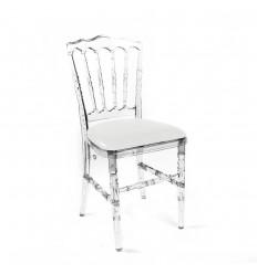 Location  Chaise Napoléon Cristal avec assise blanche