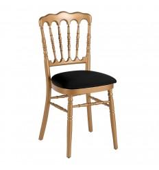 Chaise napoléon or avec assise noire