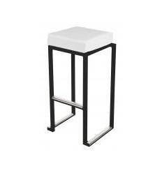 Location  Tabouret kubo haut noir avec assise blanche
