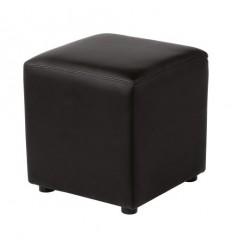Pouf cube lounge simili cuir noir